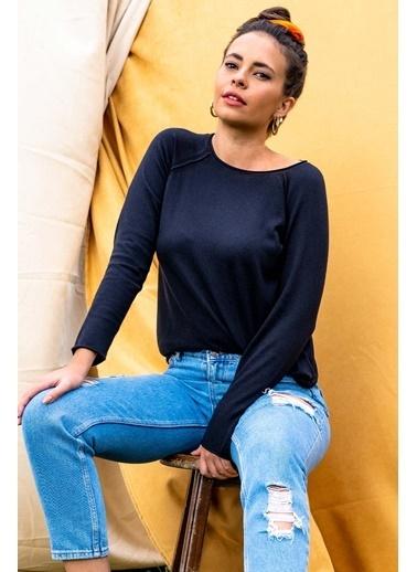 Silk and Cashmere & More Edelina Modal ve Pamuklu Yuvarlak Yaka Uzun Kollu Triko Siyah